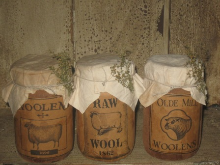 "Mercantile Soy Candles, Jar - ""Woolens 1896"", ""Raw Wool 1862"" & ""Olde Mill Woolens""-soy candles, primitive, country, mason jar candles, mercantile candles,jar candles, olde labels, vintage, early prim,"