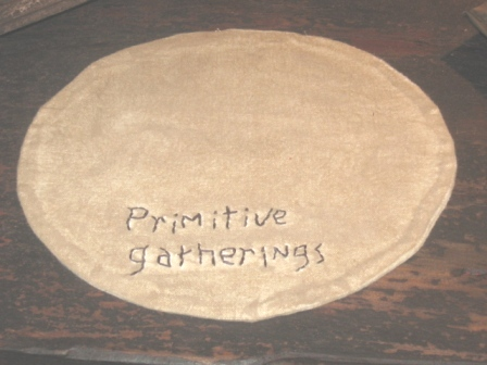 "Aged Medium Round Candle Mat - ""Primitive Gatherings"", 10"" Dia."