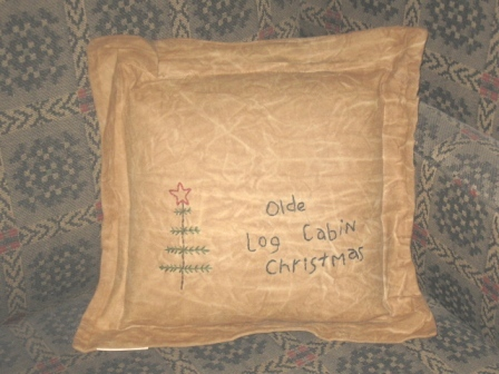 "Aged Stitchery, Pillow - ""Olde Log Cabin Christmas"""