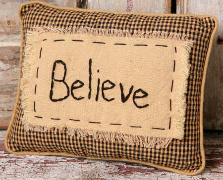 "Stitchery - ""Believe"" - Pillow"