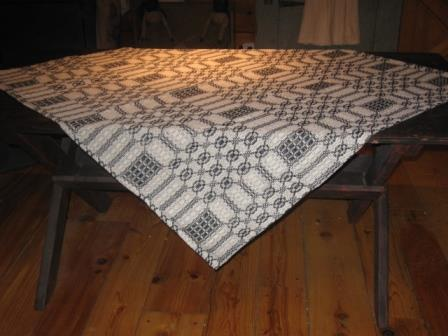Colonial Black/Cream Woven Coverlet Table Square, Item No.  66 - NEW