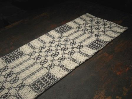Colonial Black/Cream Woven Coverlet Runner, #66