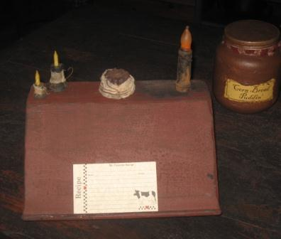 Book/Recipe Card Candle Holder, Barn Red
