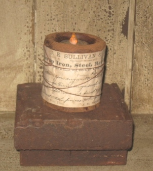 Candle Rest, Brown/Mustard-candle rests, candle holders, wood, primitive, early prim,