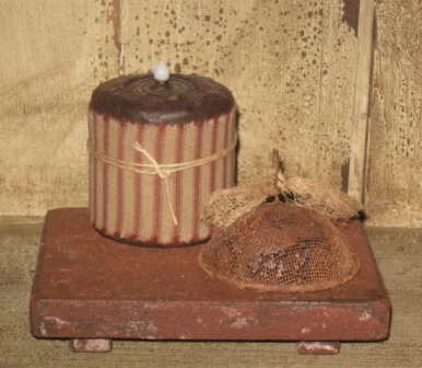 Candle Rest, Red/Black w/Putty-candle rests, candle holders, primitive, primitive decor, wood candle holders, early prim