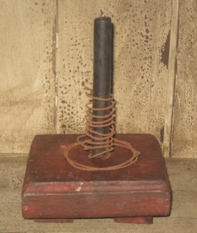 Candle Rest, Red/Black-candle holders, wood, primitive, early prim,