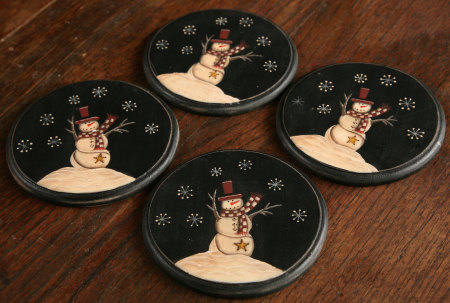 Primitive Snowman Collection - Wooden Coaster Set