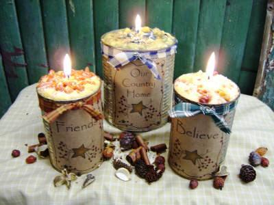 Primitive Rusty Tin Can Candles, Medium Can -  Heartfelt Labels
