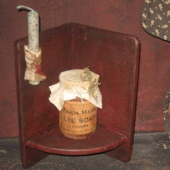 Corner Shelf, Red on Black-corner shelves, primitive, country, colonial, wood candle holders,