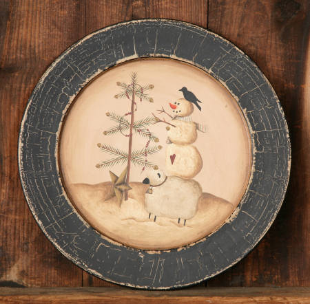 Winter Moments - Crackle Painted Plate - Tree Decorating, Crow, Sheep, Snowman - Wood