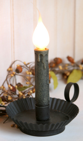 Colonial Electric Light, Tin Candle Holder, Black
