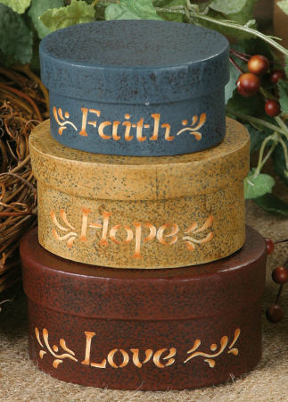 Nesting Boxes - Faith, Hope Love (Small)-Faith, Hope, Love, nesting boxes, shaker boxes
