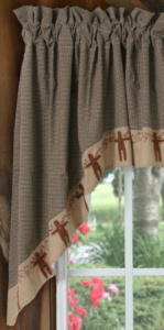Gingerbread Collection - Swag, Gingham, Black & Tan Check-country curtains, primitive curtains, gingerbread decor,