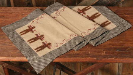 Gingerbread Collection - Tablerunner, Black & Tan Check-tablerunners, country, gingerbread