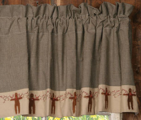 Gingerbread  Collection - Valance, Black & Tan Check-homespuns, curtains, valances, gingerbread