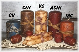 Primitive Grungy Pillar Candles, Tapers & Votives