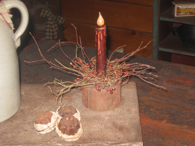 "Primitive Grungy Drip Flicker Candlestick, 7"" - Burgundy-flicker battery candles, led candles, candlesticks, primitive, drip candles, colonial, early prim, country"