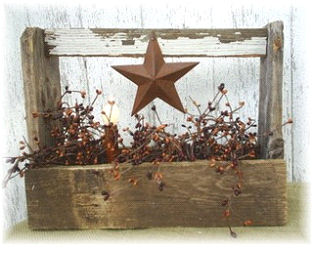 Primitive Lighted Barn Star Carryall