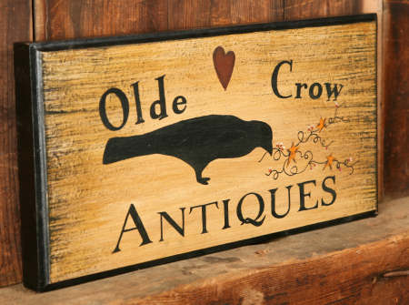 Sign - Olde Crow Antiques - Wood