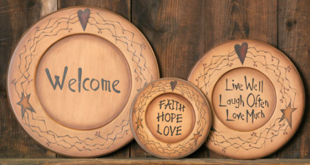 Star/Heart Collection - Plate, Primitive, Welcome, Wood