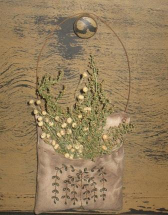 Primitive Pillow Pocket - Willow Tree, Stitchery