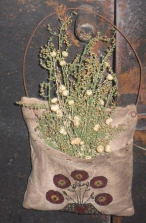 Primitive Pillow Pocket - Penny Mat Flowers, Stitchery