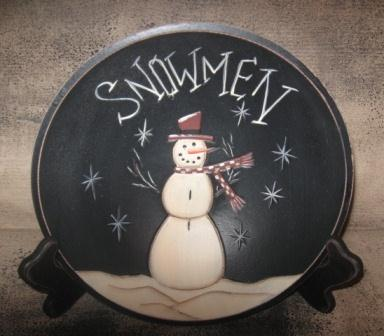 Primitive Snowman Collection - Snowman Wood Bowl, Carved - 9.25 Inches