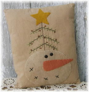"Stitchery - ""Snowman Prim Tree"" - Pillow"