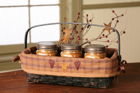Star/Heart Collection - Cracker Basket, Swing Handle w/Liner