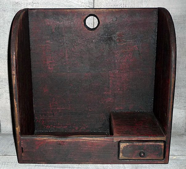Small Primitive Bowl Cubbie w/Drawer - NEW