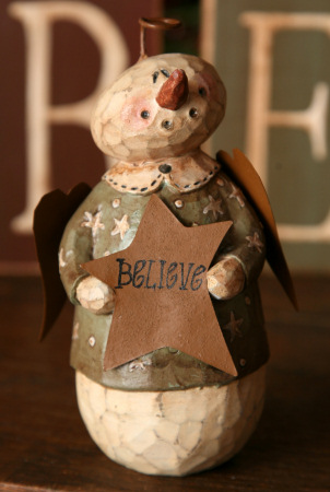 "Snowman Angel - ""Believe"", Figurine -  NEW-snowmen, seasonal decor, winter decor, believe decor, angels, primitive, country decor,"