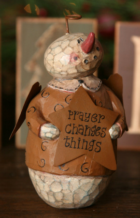 "Snowman Angel - ""Prayer Changes Things"", Figurine-snowmen, resin, primitive, country, snowmen decor, seasonal, angels,"