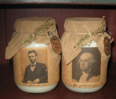 Presidential Soy Candles, Jar - Abe Lincoln & George Washington-presidential candles, soy jar candles, primitive, country, colonial, early prim, Abraham Lincoln candles, George Washington candles, Abraham Lincoln decor, George Washington decor