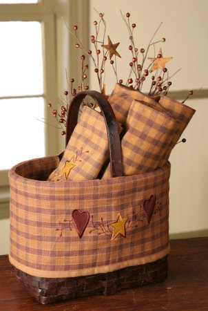 Star Heart Collection - Grungy Oval Market Basket w/Star