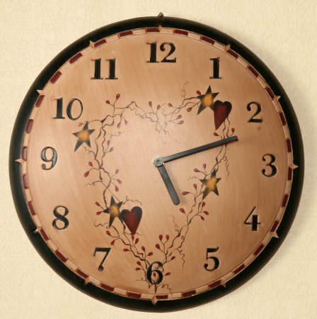 Star/Heart Collection - Wall Clock, Wood