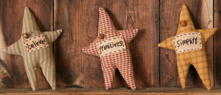 "Stitchery - Primitive Stars, ""Believe"",  ""Primitives"", ""Simplify"" (Set of 3)"