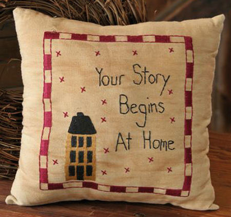 "Stitchery - ""Your Story"" - Prim Home, Pillow"