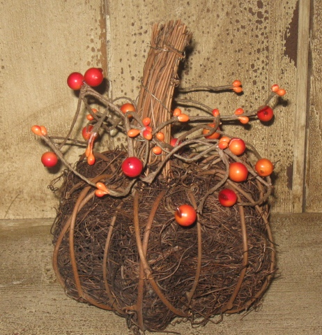 Twig Pumpkin w/Orange Berries