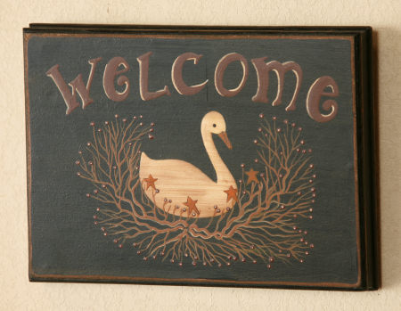 Sign - Welcome, Goose, Vine - Wood