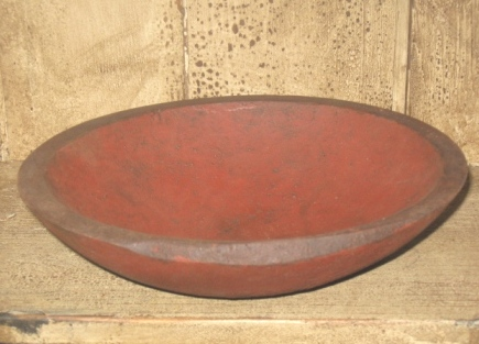 Wood Bowl, 9 Inches - Red/Black