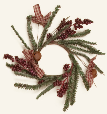 Winter Greens  -  Berries, Bows, Bells, Wreath - NEW-wreaths, winter, greens, bells, berries, pine, candle rings